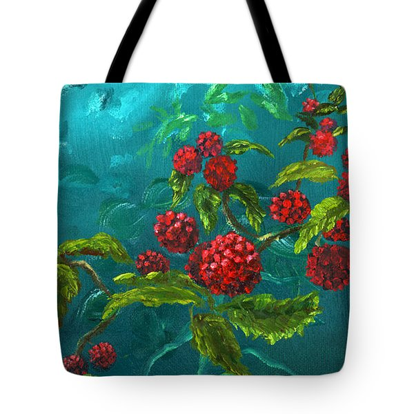 Red Berries In Blue Green Painting Tote Bag