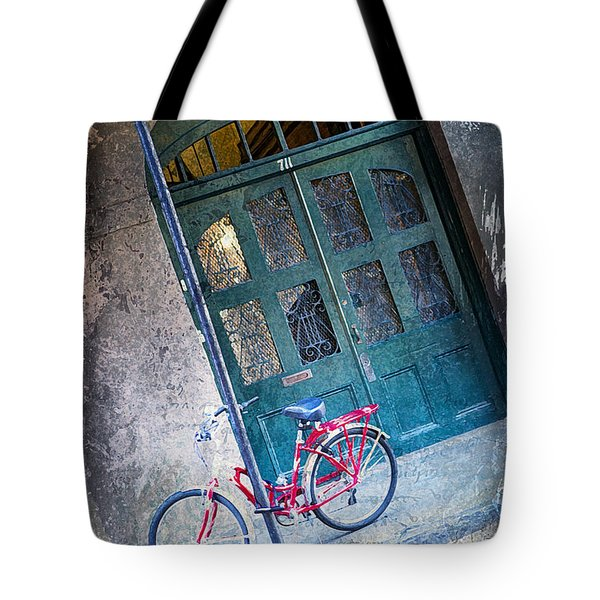 Tote Bag featuring the digital art Red Bike by Erika Weber