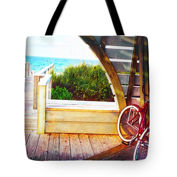 Red Bike On Beach Boardwalk Tote Bag