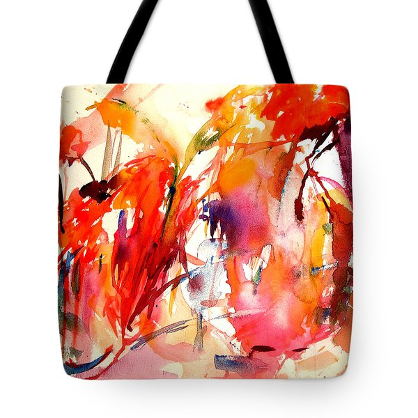 Red Blooms Tote Bag by Tolere