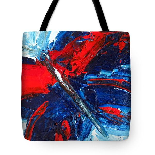 Red Blue Butterfly Tote Bag