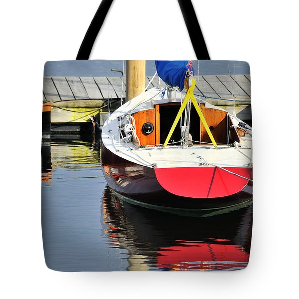 Red Boat Reflections Rockland Maine Tote Bag
