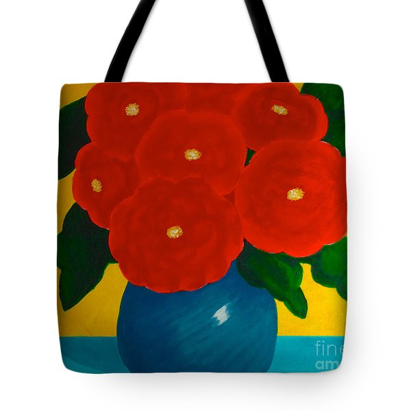 Red Bouquet Tote Bag by Anita Lewis