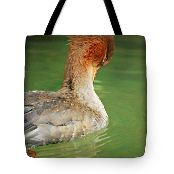 Tote Bag featuring the photograph Red Breasted Merganser by Maggy Marsh