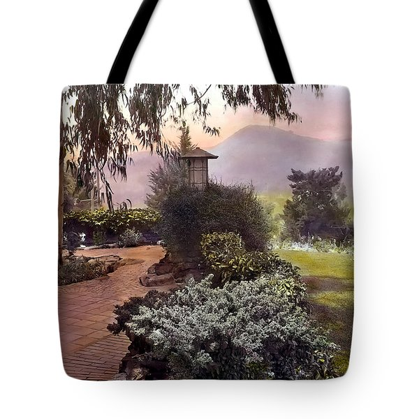 Red Bricks And Violet Mountain Tote Bag by Terry Reynoldson