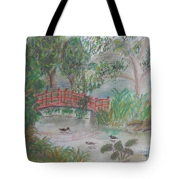 Red Bridge At Wollongong Botanical Gardens Tote Bag by Pamela  Meredith