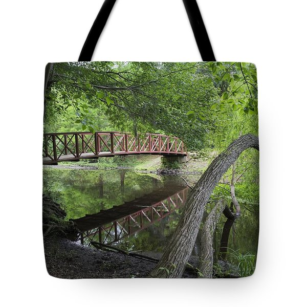 Red Bridge Over Peaceful Water Tote Bag