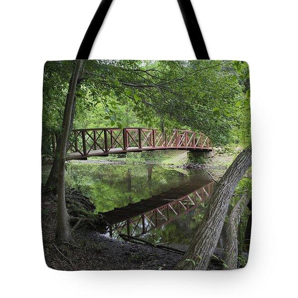 Red Bridge Over Peaceful Water Tote Bag