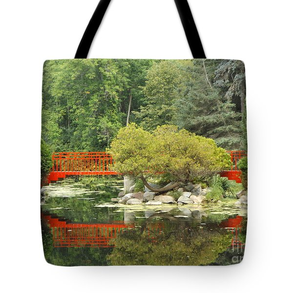Red Bridge Reflection In A Pond Tote Bag