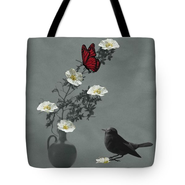 Red Butterfly In The Eyes Of The Blackbird Tote Bag