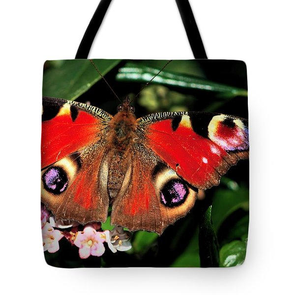 Red Butterfly In The Garden Tote Bag