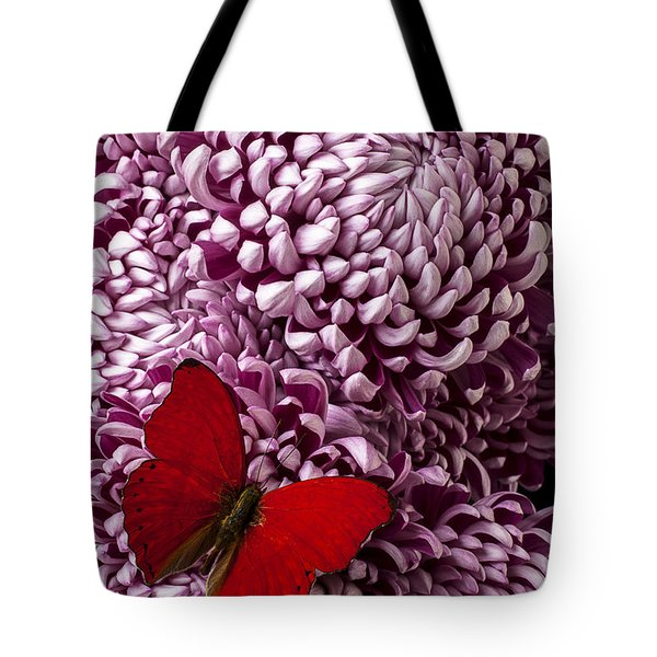 Red Butterfly On Red Mum Tote Bag by Garry Gay