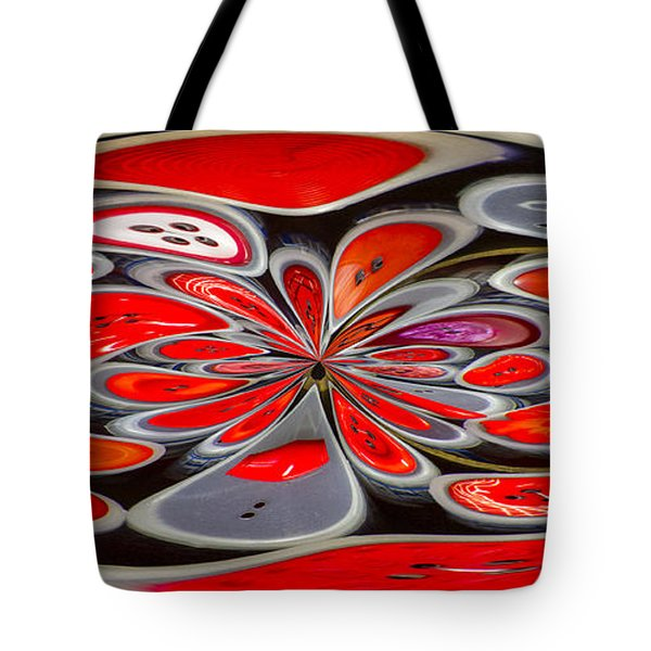 Red Button Orb Tote Bag by Jean Noren