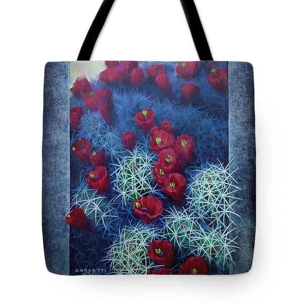 Tote Bag featuring the painting Red Cactus by Rob Corsetti