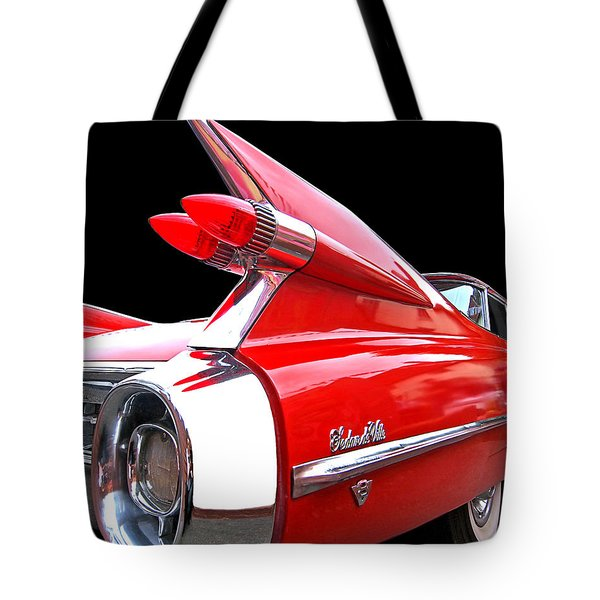 Red Cadillac Sedan De Ville 1959 Tail Fins Tote Bag