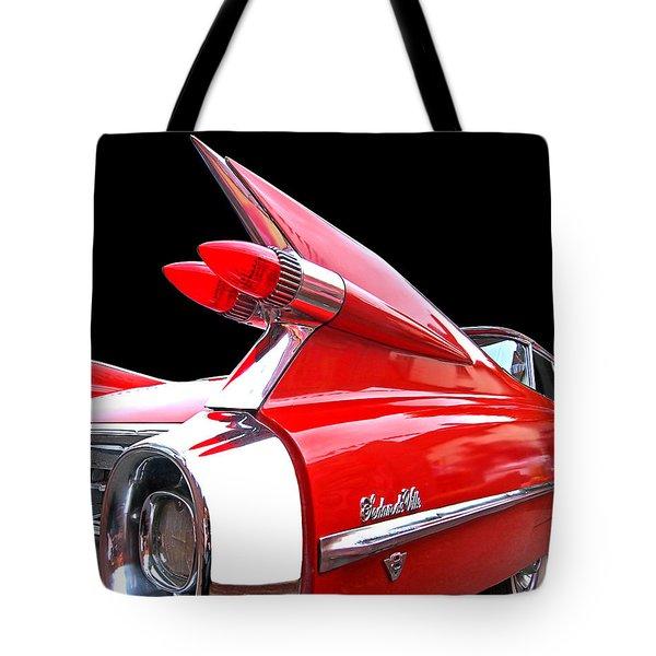 Red Cadillac Sedan De Ville 1959 Tail Fins Tote Bag