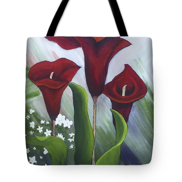 Red Calla Lilies Tote Bag