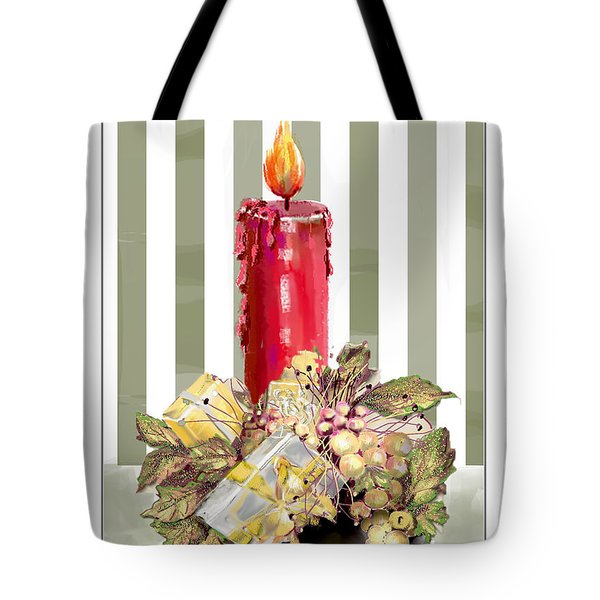 Tote Bag featuring the digital art Red Candle by Arline Wagner