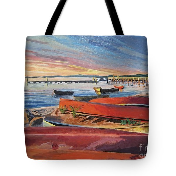 Red Canoe Sunset Tote Bag