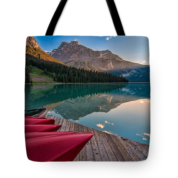 Red Canoe View Tote Bag