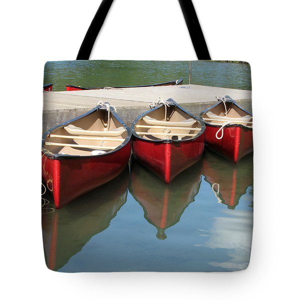 Red Canoes Tote Bag by Marcia Socolik