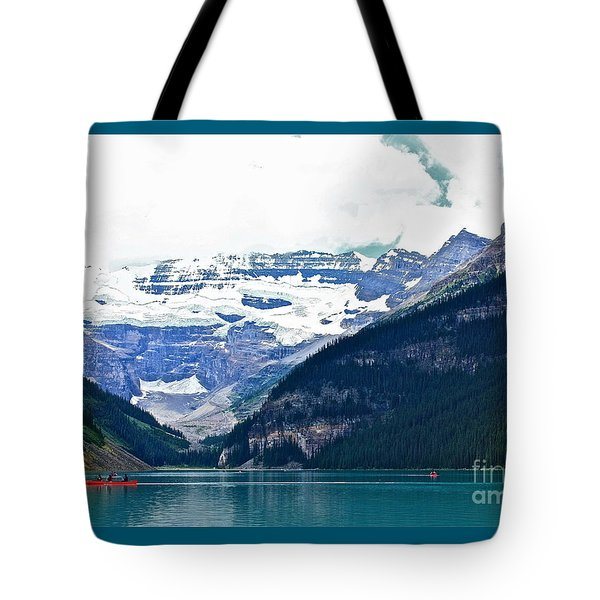 Red Canoes Turquoise Water Tote Bag by Linda Bianic