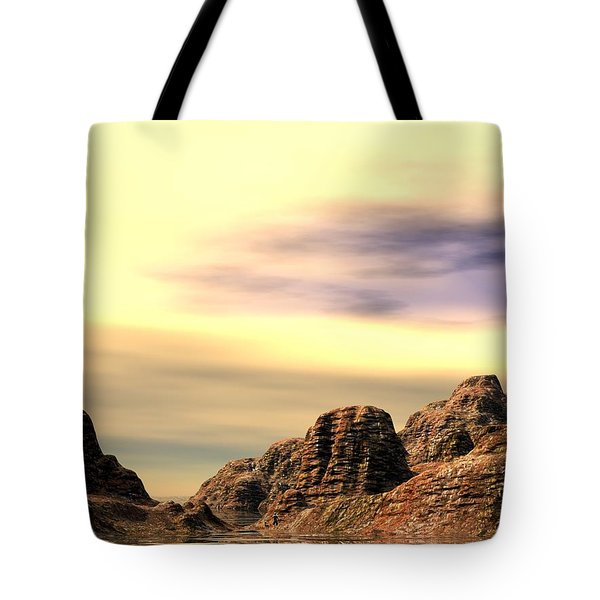 Tote Bag featuring the digital art Red Canyon Cove by John Pangia