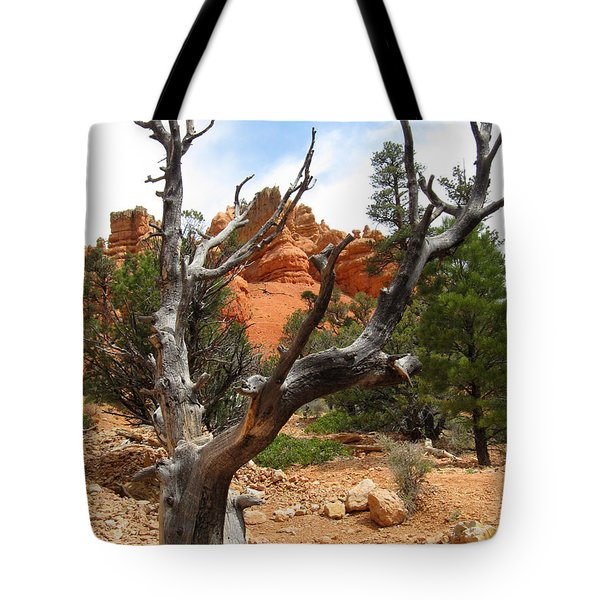 Red Canyon Tree And Rocks Tote Bag by Debra Thompson