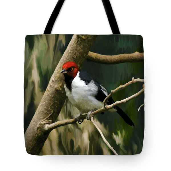 Red-capped Cardinal Tote Bag by Adam Olsen