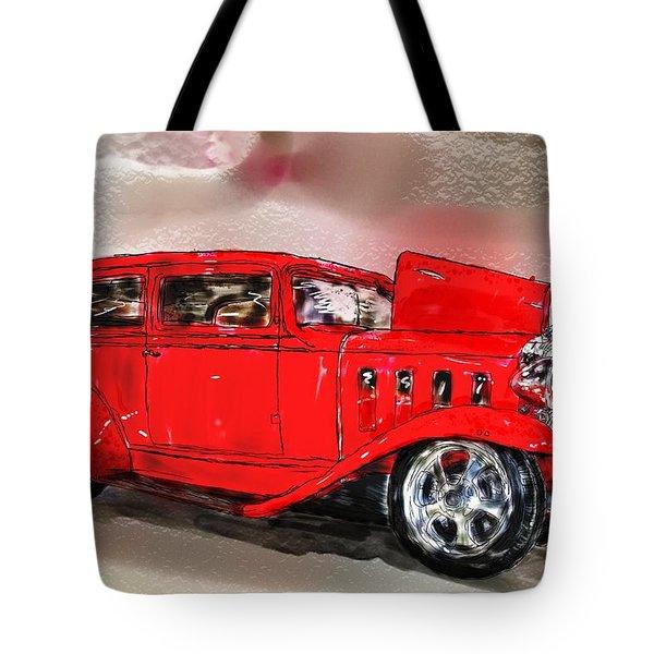 Red Car Tote Bag by Debra Baldwin