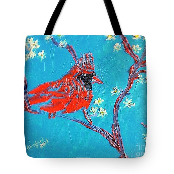 Red Cardinal Spring Tote Bag by Richard W Linford