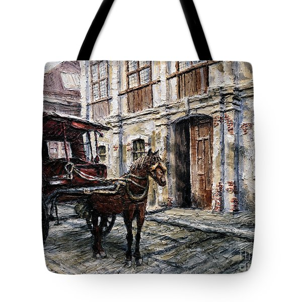 Red Carriage Tote Bag by Joey Agbayani
