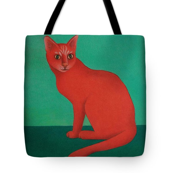 Red Cat Tote Bag by Pamela Clements