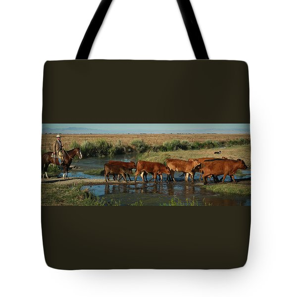 Red Cattle Tote Bag by Diane Bohna