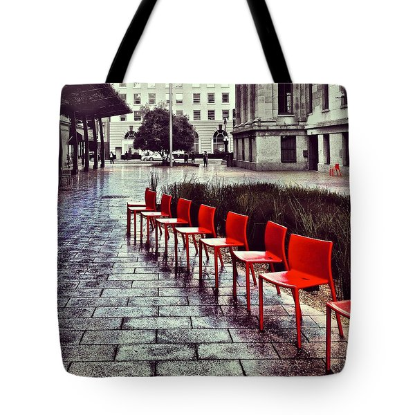 Red Chairs At Mint Plaza Tote Bag