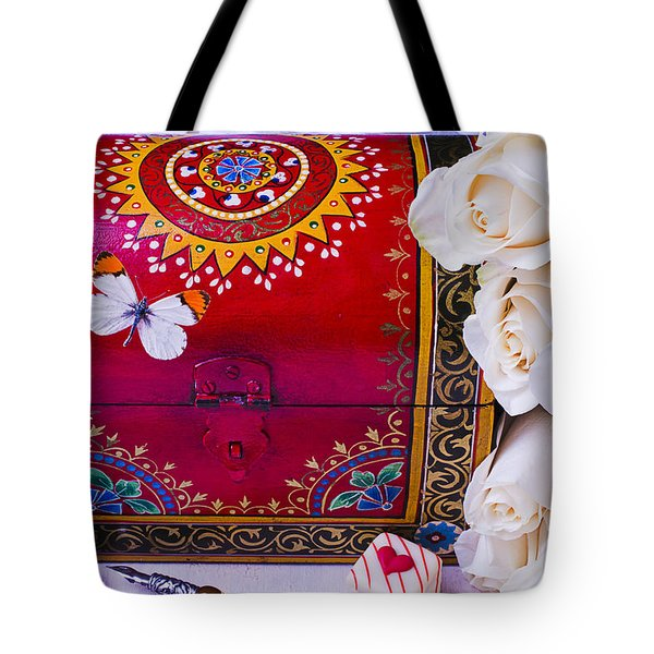 Red Chest And Butterfly Tote Bag by Garry Gay
