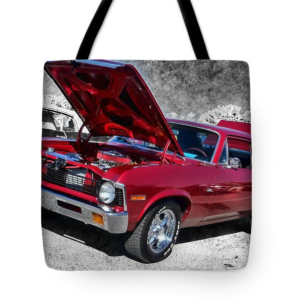 Red Chevy Nova Tote Bag