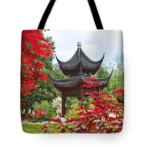 Red - Chinese Garden With Pagoda And Lake. Tote Bag