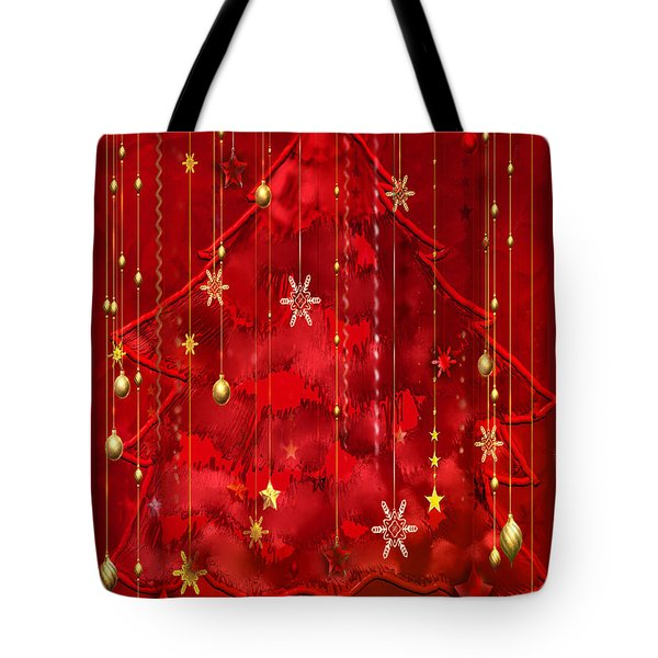 Tote Bag featuring the digital art Red Christmas Tree by Arline Wagner