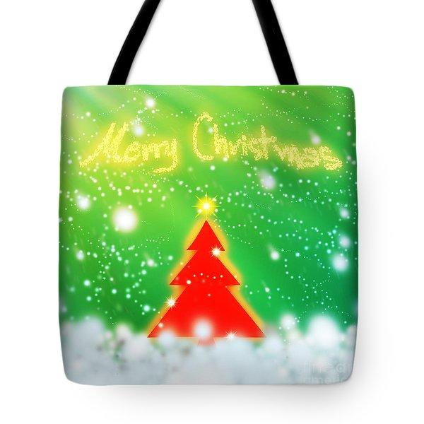 Red Christmas Tree Tote Bag by Atiketta Sangasaeng