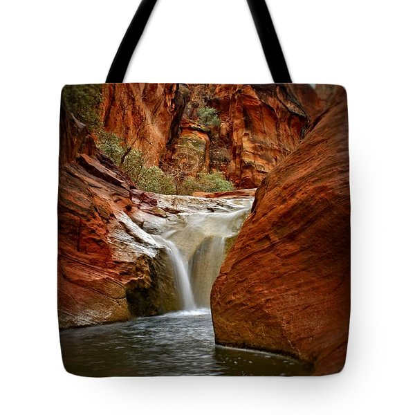 Red Cliffs Waterfall Tote Bag