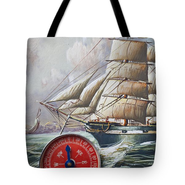 Red Compass On Ship Painting Tote Bag