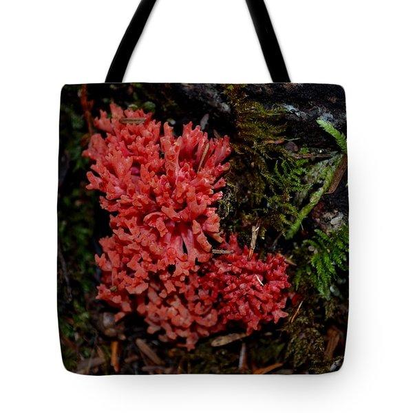 Red Coral Mushroom Tote Bag