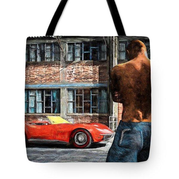 Red Corvette Tote Bag by Bob Orsillo