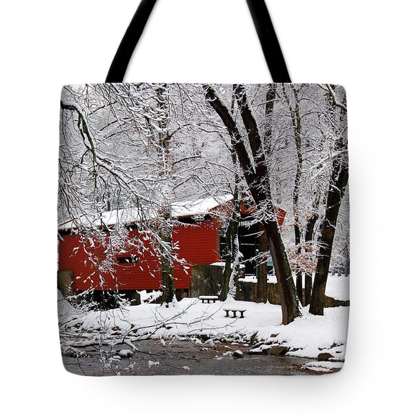 Red Covered Bridge Winter 2013 Tote Bag