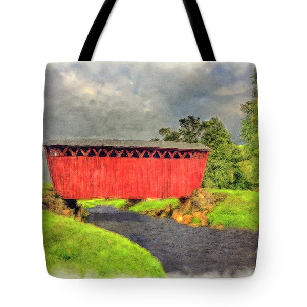 Red Covered Bridge With Car Tote Bag by Dan Friend