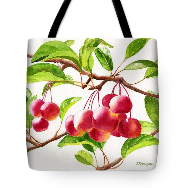 Red Crab Apples Tote Bag by Sharon Freeman