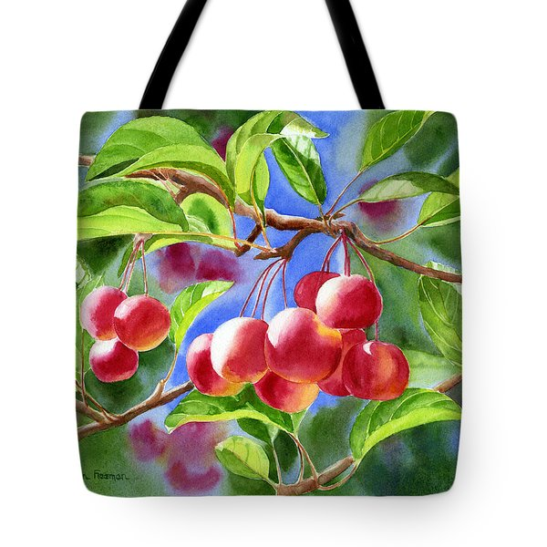 Red Crab Apples With Background Tote Bag by Sharon Freeman