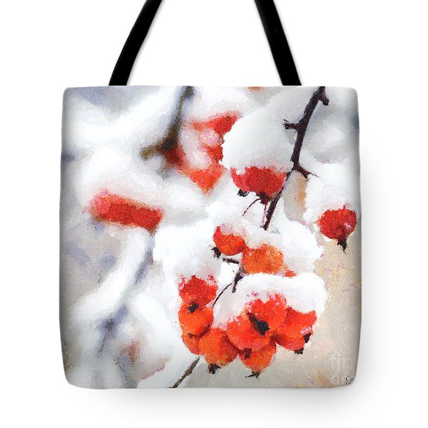 Red Crabapples In The Winter Snow - A Digital Painting By D Perry Lawrence Tote Bag