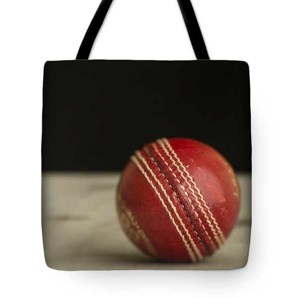 Red Cricket Ball Tote Bag by Edward Fielding